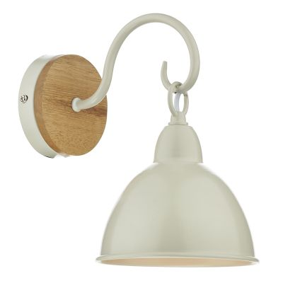 Blyton Single Wall Light with Wooden Backplate and a Cream Metal Shade - där BLY0743